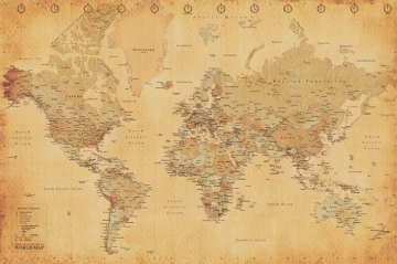 World Map Maxi Poster. Antique Style